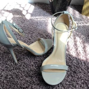 ankle strap gray heels